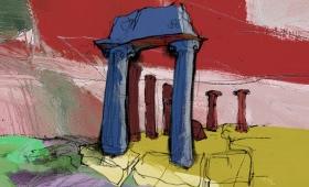 Illustration für Weinettiket   Tempel2