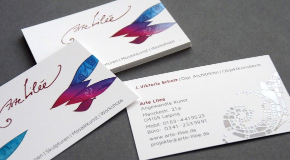 Arte Lilee Visitenkarte, veredelt mit partiellem UV Lack