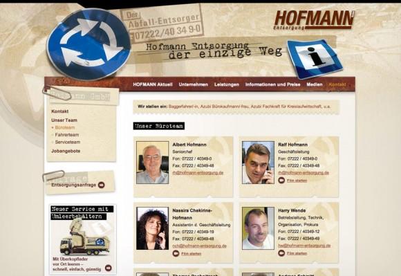 Webdesign für Hofmann Entsorgung, Rastatt