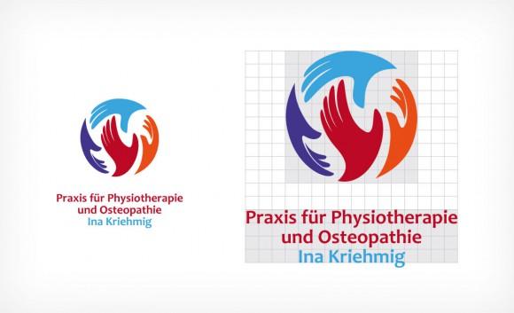 Logo Praxis für Physiotherapie und Osteopathie Ina Kriehmig Logo Verhältnisse