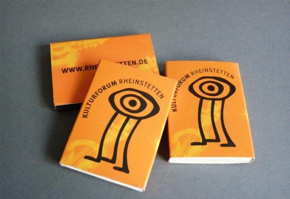 Streichholzschachtel als Werbeträger für das Kulturforum Rheinstetten