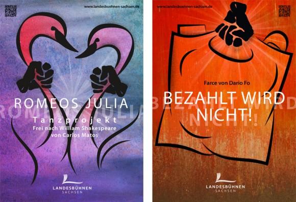 Premiereplakate Romeos Julia und Bezahlt wird nicht