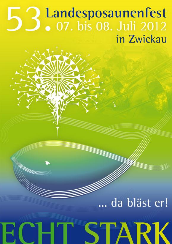 Plakat für das Landesposaunenfest in Zwickau