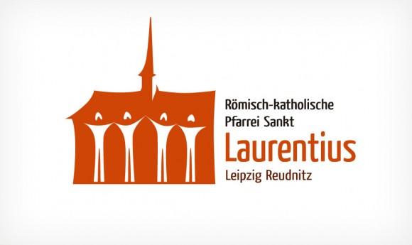 inverse Alternative des Logos der Römisch-katholischen Pfarrei Sankt Laurentius Leipzig Reudnitz