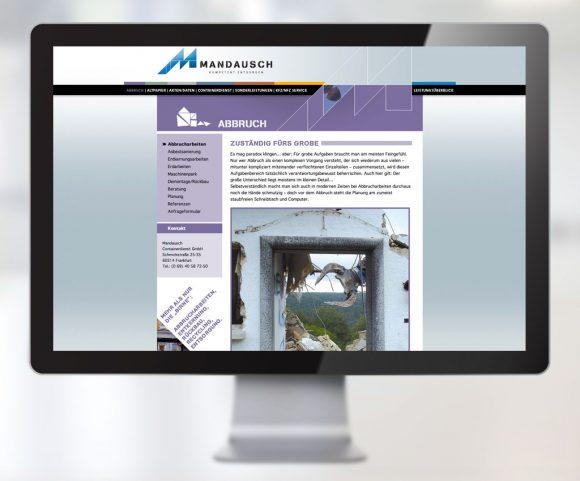 Webdesign für Mandausch, Firma der Entsorgungs- und Abfallwirtschaft in Frankfurt