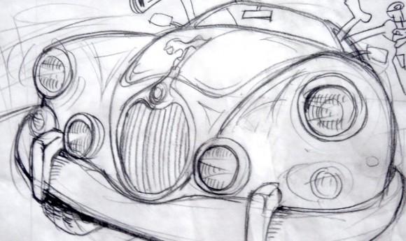 Illustration für eine Oldtimertour