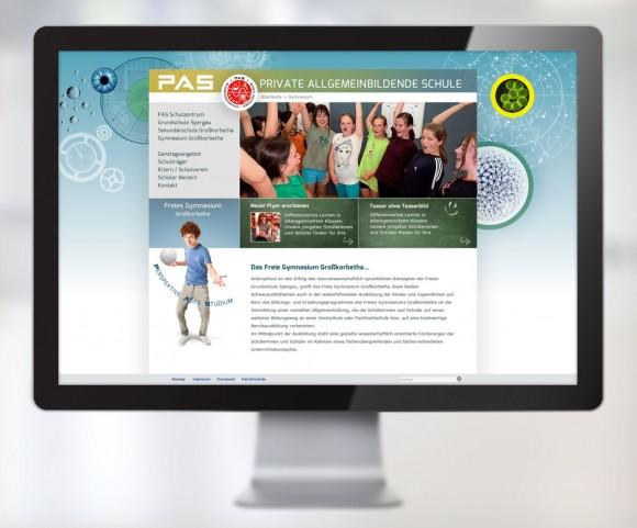 Webdesign der Privaten allgemeinbildenden Schulen PAS