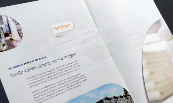 Innenseite des Imagefolders für die Puschendorf Textilservice GmbH