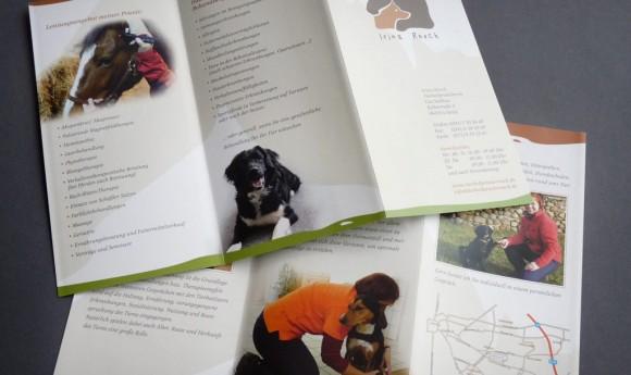Flyer-Innenseiten der Tierheilpraxis Irina Rosch in Leipzig Mölkau