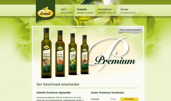 Webdesign für die Firma Schell - Speiseöle