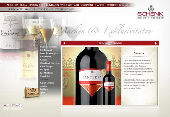 Webdesign für Schenk Weine, Baden-Baden