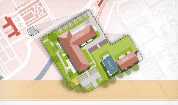 Infografik für die Wohnanlage »Casino am Schloss« in Rastatt