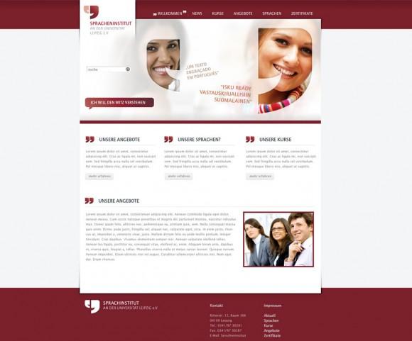 Webdesign des Spracheninstituts an der Universität Leipzig e.V.