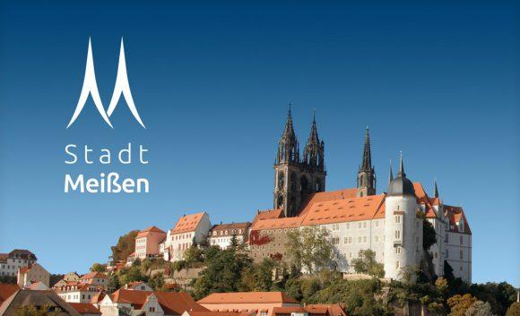 Das Logo der Stadt Meißen symbolisiert die zwei Turmspitzen der Albrechtsburg