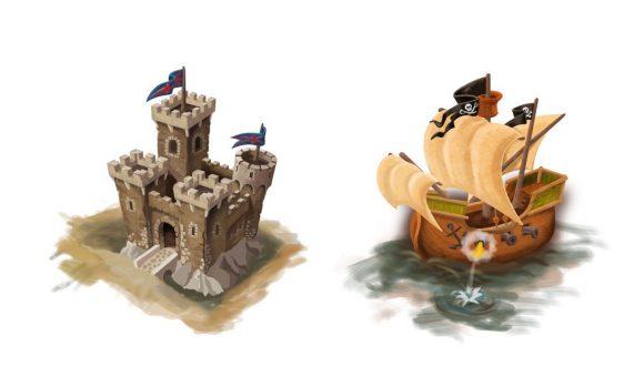 Illustrationen Burg und Schiff für das Belantis Logo