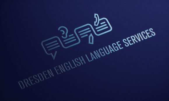 Dresden English Language Services Logo partieller UV Lack