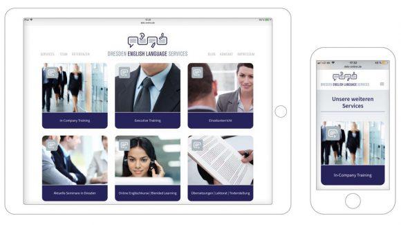 Dresden English Language Services Webdesign Mobile