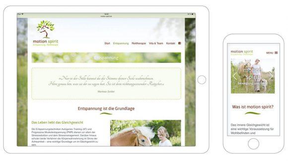 motion spirit Webdesign Darstellung auf Tablet und Smartphone