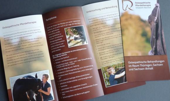 Flyer-Innenseiten der Osteopathischen Pferdetherapie Elisabeth Reichert