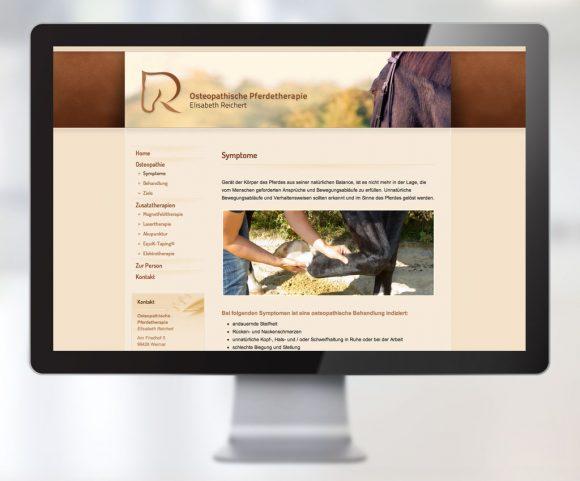 Webdesign der Osteopathischen Pferdetherapie Elisabeth Reichert