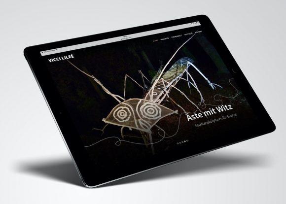 Website Vicci-Lilee auf dem iPad